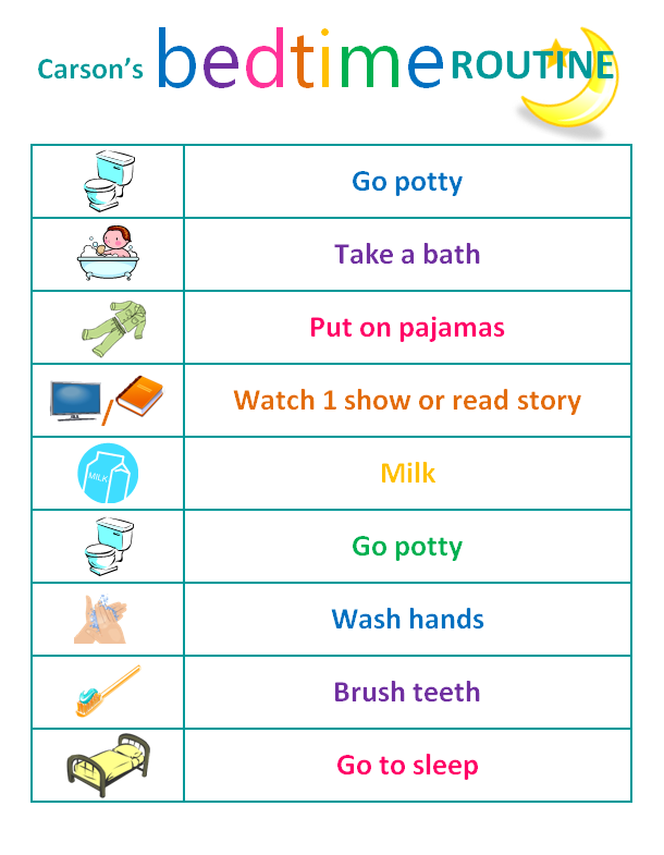 toddler bedtime routine chart